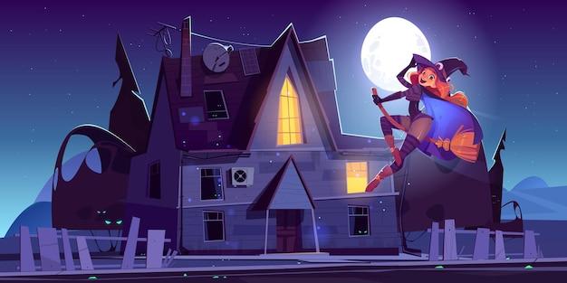 Linda bruxa voando na vassoura perto da ilustração dos desenhos animados da casa mal-assombrada