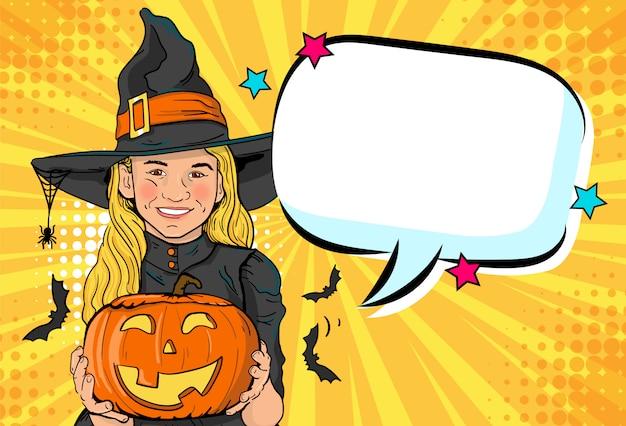 Linda bruxinha. anuncie a festa de halloween para crianças.
