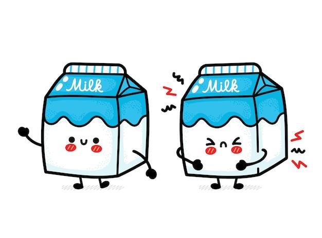 Linda caixa de leite triste e feliz engraçada.