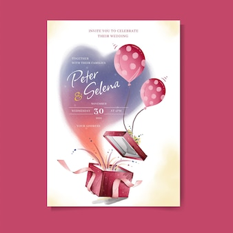 Linda caixa de presente com balão em aquarela de convite de casamento premium vector