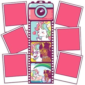 Linda câmera com unicórnios em um rolo de filme