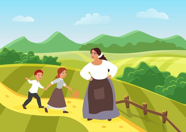 Linda camponesa feliz, mãe e filhos, mulher medieval, aldeão, filho e filha