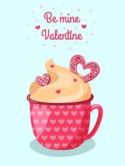 Linda caneca vermelha de chocolate quente com creme e biscoitos em forma de coração rosa. dia dos namorados romântico.