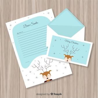 Linda carta de natal e envelope conceito