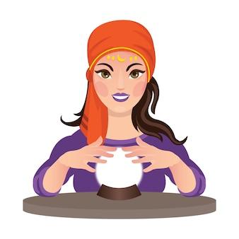 Linda cartomante lendo um futuro com sua bola de cristal