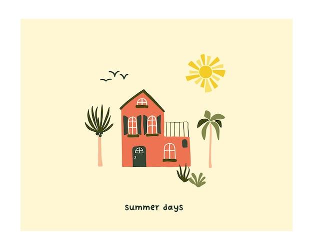 Linda casa de verão na praia com palmeiras e sol. modelo de estilo escandinavo higge aconchegante para cartão postal, cartão postal, design de camiseta. ilustração vetorial em estilo cartoon desenhado à mão plana