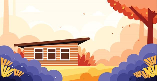 Linda casa na ilustração selvagem