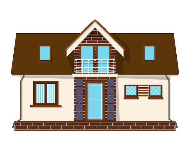 Linda casa pequena com um loft, varanda. prédio com um sótão. casa rural aconchegante com mezanino.