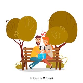 Linda cena de casal com filhote de cachorro bonito no parque
