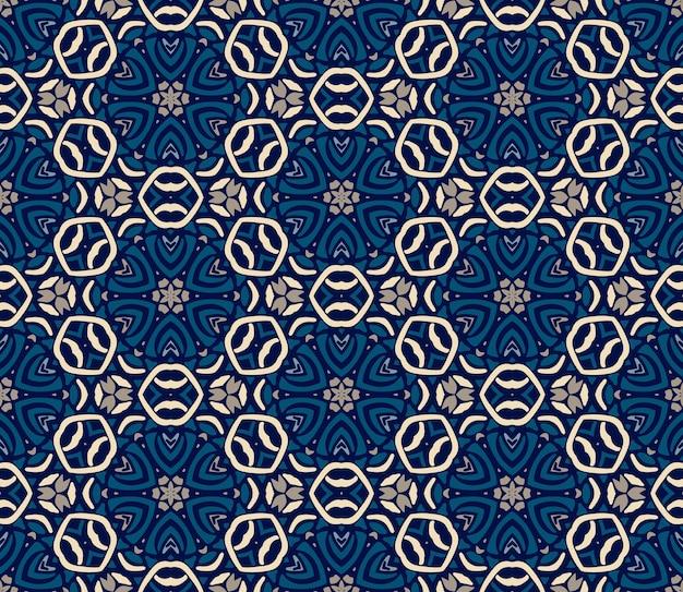 Linda colcha de retalhos sem costura padrão azul telhas orientais, ornamentos. pode ser usado para papel de parede, fundos, decoração para seu projeto, cerâmica, preenchimento de página e muito mais.