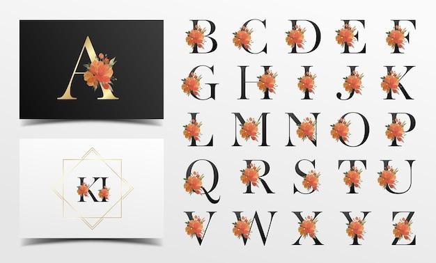 Linda coleção de alfabeto com decoração floral em aquarela