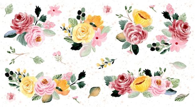 Linda coleção de aquarela de arranjo de flor