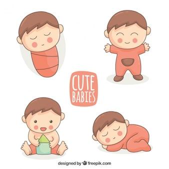 Linda coleção de bebê desenhado mão