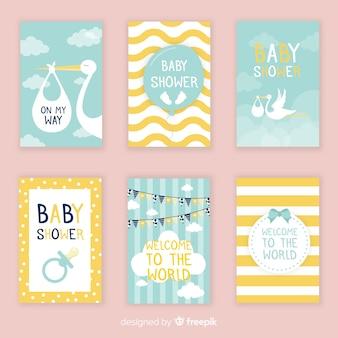 Linda coleção de cartão de chuveiro de bebê com design plano