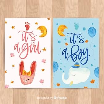 Linda coleção de cartão de chuveiro de bebê em aquarela