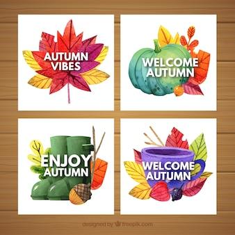 Linda coleção de cartão de outono em aquarela