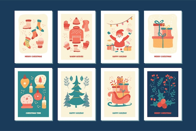 Linda coleção de cartões de natal, bonito conjunto de coleção de cartões de desenhos animados.