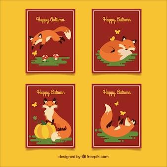 Linda coleção de cartões de outono com design plano