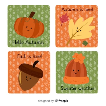 Linda coleção de cartões de outono