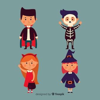 Linda coleção de crianças de halloween com design plano