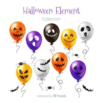 Linda coleção de elementos de halloween em aquarela