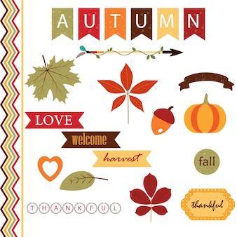 Linda coleção de elementos de outono
