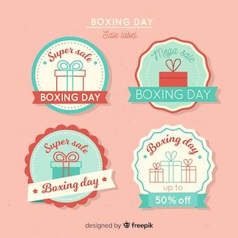 Linda coleção de etiquetas de dia de boxe