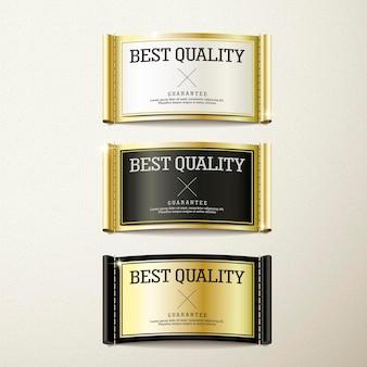 Linda coleção de etiquetas douradas de qualidade premium sobre bege