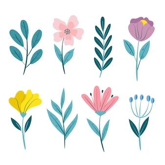 Linda coleção de flores de primavera