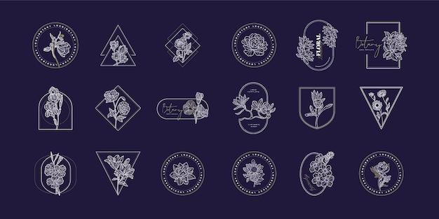 Linda coleção de logotipo floral