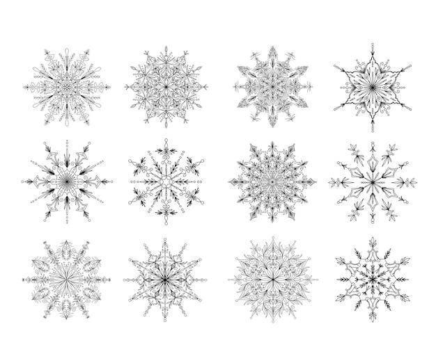 Linda coleção de mandala de floco de neve ornamentais
