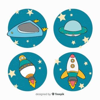 Linda coleção de nave espacial desenhada mão