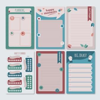 Linda coleção de notas e cartões de recados