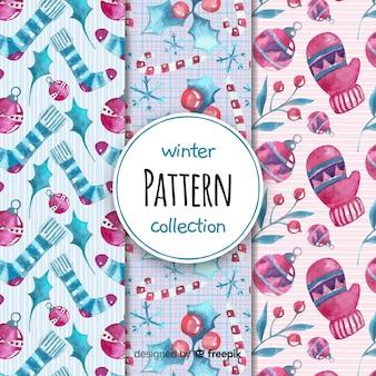 Linda coleção de padrão de inverno em aquarela
