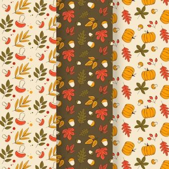 Linda coleção de padrões de outono com folhas
