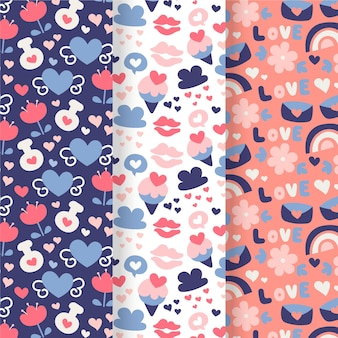 Linda coleção de padrões para o dia dos namorados