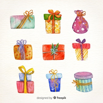 Linda coleção de presente de natal em aquarela