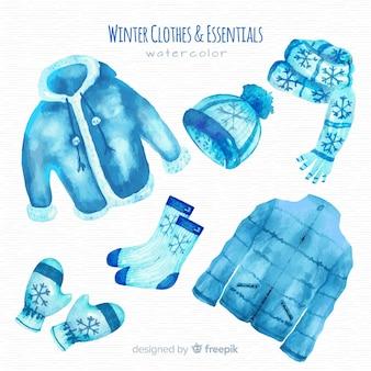 Linda coleção de roupas de inverno aquarela