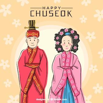 Linda composição chuseok com estilo desenhado de mão