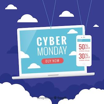 Linda composição cyber segunda-feira com design plano