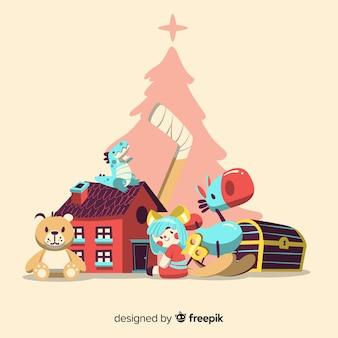 Linda composição de natal com brinquedos coloridos