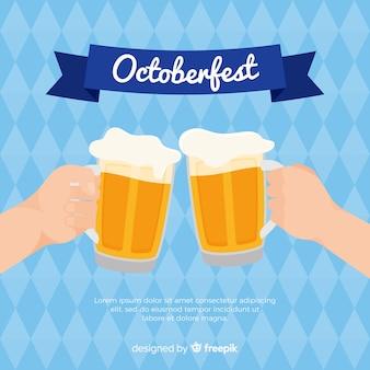 Linda composição oktoberfest com design plano