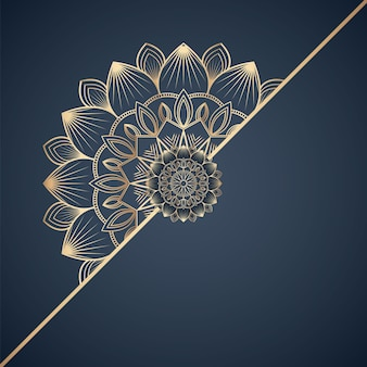 Linda cor dourada ornamental com desenho de mandala em arabescos