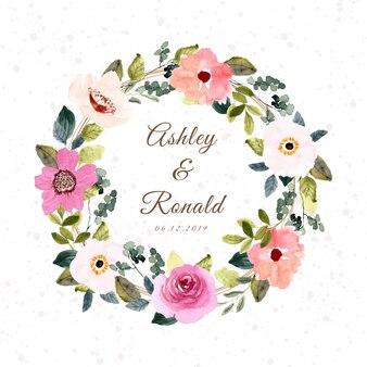 Linda coroa de flores em aquarela floral rosa com blush