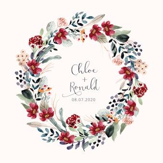 Linda coroa de flores em aquarela jardim floral