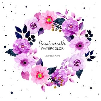 Linda coroa de flores roxa em aquarela