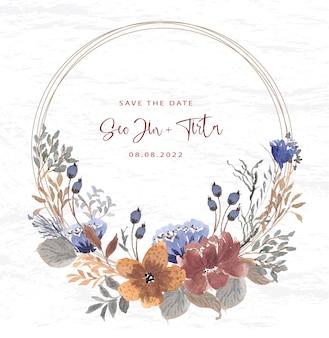 Linda coroa de flores vintage em aquarela Vetor Premium