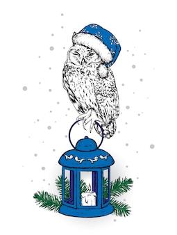 Linda coruja com enfeites e roupas de natal