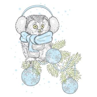 Linda coruja com roupas de inverno para o natal e ano novo