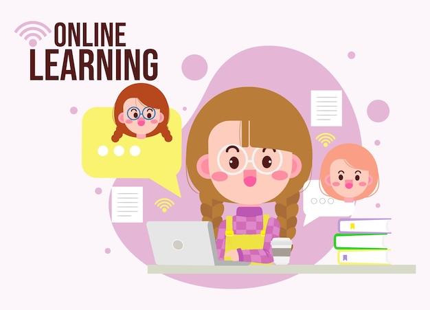 Linda criança aprendendo on-line com ilustração de desenho animado computador laptop